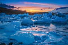 Jokulsarlon & μπλε πάγος Στοκ Φωτογραφία