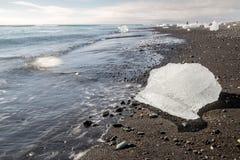 Jokulsarlon пляжа диаманта Стоковое Изображение RF