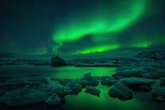 Jokulsarlon aurora Royalty Free Stock Images