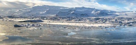 Jokulsarlon & Breithamerkurjokull Panoramic Royalty Free Stock Image