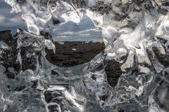 Jokulsarlon de la playa del diamante Fotografía de archivo