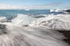 Jokulsarlon de la playa del diamante Imagenes de archivo