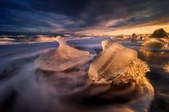 Jokulsarlon dois iceberg Fotografia de Stock