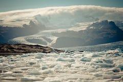 Jokulsarlon glaciärlagun i den Vatnajokull nationalparken, Island Arkivfoto
