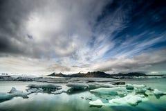 Jokulsarlon glaciärlagun, Island Arkivfoto