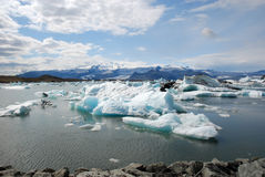 Jokulsarlon glacier and Glacier lagoon- Iceland. Jokulsarlon the largest glacier lagoon or lake in south eastern Iceland at the head of the Breidamerkurjokull royalty free stock image