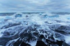 Jokulsarlon glacier lagoon, fantastic sunset on the black beach, Stock Images