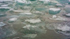 Jokulsarlon Glacier Lagoon. Icebergs on the shore in Iceland stock footage