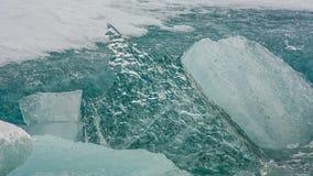 Jokulsarlon Glacier Lagoon. Icebergs on the shore in Iceland stock video