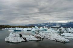 Jokulsarlon Glacier Lagoon, Iceland. Black Sand Beach Royalty Free Stock Photography
