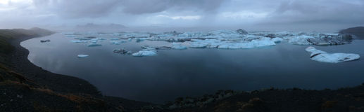Jokulsarlon, glacier lagoon at night royalty free stock photography