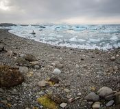 Jokulsarlon Glacier lagoon shoreline Stock Photos