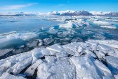 Jokulsarlon Glacier Lagoon - southeast Iceland. Jokulsarlon is a large glacial lake in southeast Iceland, on the edge of Vatnajökull National Park Stock Photo