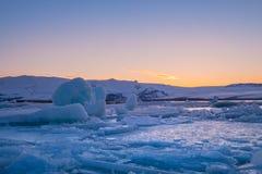 Jokulsarlon Glacier Lagoon - southeast Iceland. Jokulsarlon is a large glacial lake in southeast Iceland, on the edge of Vatnajökull National Park Stock Image