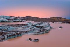 Jokulsarlon, glacier and lake at Iceland at sunset Stock Photography