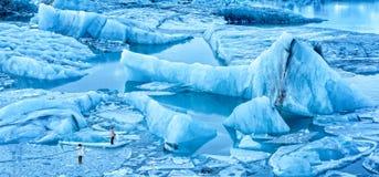 Jokulsarlon-Gletscher-Lagunenpanorama Stockbilder