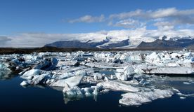 Jokulsarlon Ice Lagoon panoramic scenery, Iceland Stock Photos