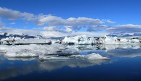 Jokulsarlon Ice Lagoon panoramic scenery, Iceland Stock Photography
