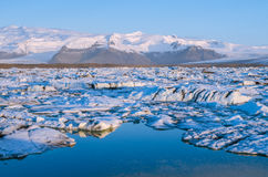 Jokulsarlon Ice Lagoon. At sunrise in spring royalty free stock photography