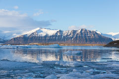 Jokulsarlon ice lake with snow mountain background, Iceland Stock Photos