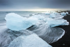 Jokulsarlon with icebergs beached Stock Image