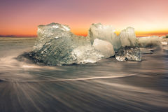 Jokulsarlon with icebergs beached Stock Photography