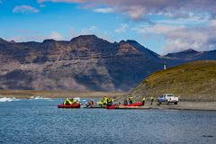 Tourists going on a Zodiac tour at Jokulsarlon Glacier lagoon royalty free stock photos