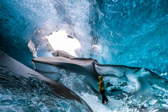 JOKULSARLON/ICELAND - FEBRUARY 03 : Crystal Ice Cave near Jokulsarlon in Iceland on February 3, 2016. Unidentified person stock image