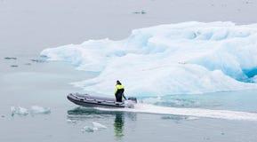 JOKULSARLON, ICELAND - July 21, 2016: Boat adventure on Jokulsar Stock Images