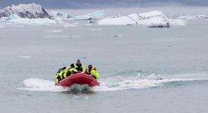 JOKULSARLON, ICELAND - July 21, 2016: Boat adventure on Jokulsar Stock Photo