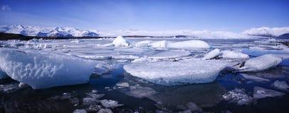 Jokulsarlon, Iceland. Panoramic shot of the Jokulsarlon landscape in Iceland Stock Photo