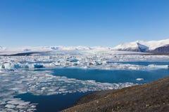 Jokulsarlon lagoon Icebergs floating Iceland Royalty Free Stock Photo