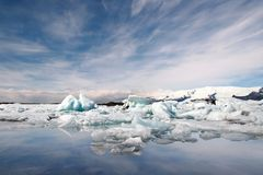 Jokulsarlon lake. Icebergs floating on a glacier lake called Jokulsarlon on a south of Iceland Royalty Free Stock Images
