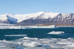Jokulsarlon lake with iceberg with mountain Stock Images