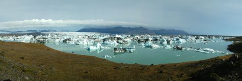 Jokulsarlon Lake Panorama. Glacier Lake in Iceland Stock Image