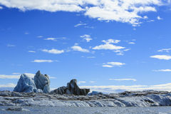 Jokulsarlon is a large glacial lake in Iceland. On the borders Stock Photo