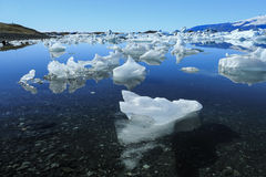 Jokulsarlon is a large glacial lake in Iceland. On the borders Stock Photos