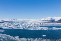 Jokulsarlon is a large glacial lake in southeast Iceland during winter Royalty Free Stock Images