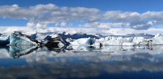 Jokulsarlon lodu laguny panoramiczna sceneria, Iceland Obrazy Royalty Free