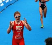 Jolanda Annen nach dem Rennen Stockfotos