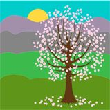 Joli arbre de floraison Fond de source Jour ensoleill? Illustration de vecteur illustration libre de droits