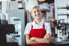 Joli barman souriant à l'appareil-photo Photographie stock libre de droits