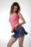 Joli brunette dans la mini jupe Images libres de droits