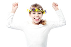 Joli enfant de fille complètement d'excitation photos libres de droits