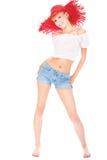 Joli femme avec le chapeau rouge Photo libre de droits