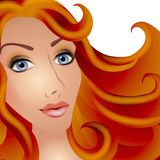 Joli femme avec le cheveu rouge illustration de vecteur