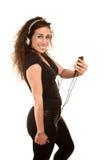 Joli femme avec le dispositif sonore tenu dans la main photographie stock