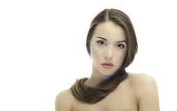 Joli femme avec le long cheveu droit Photos stock