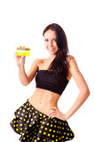 Joli femme avec par la carte de crédit photos libres de droits