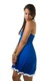 Joli femme dans le bleu Photos libres de droits